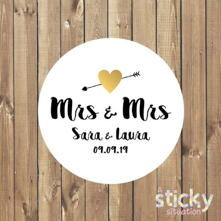 Personalised Same Sex Wedding Stickers - Mrs & Mrs Design